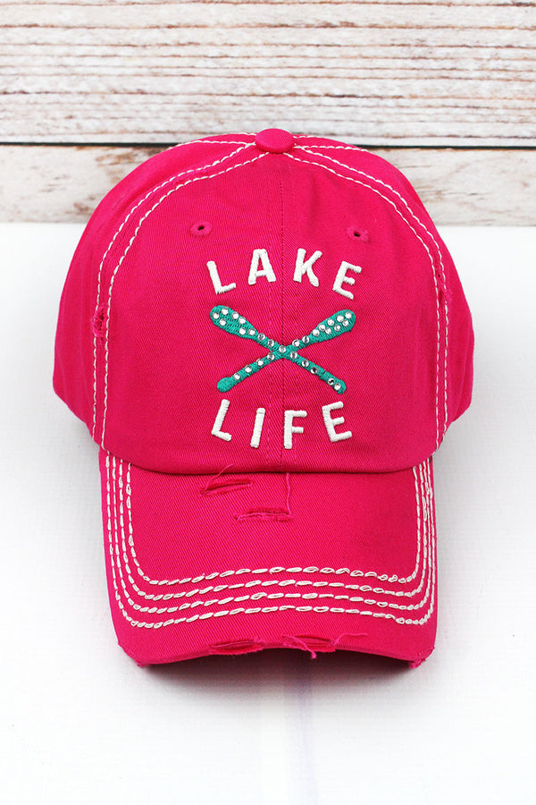 Distressed Hot Pink with Crystals 'Lake Life' Cap