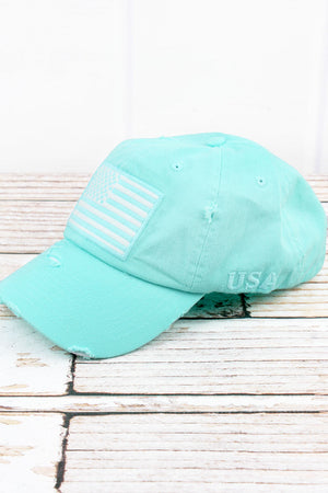 Distressed Mint Blue with White American Flag Tactical Cap