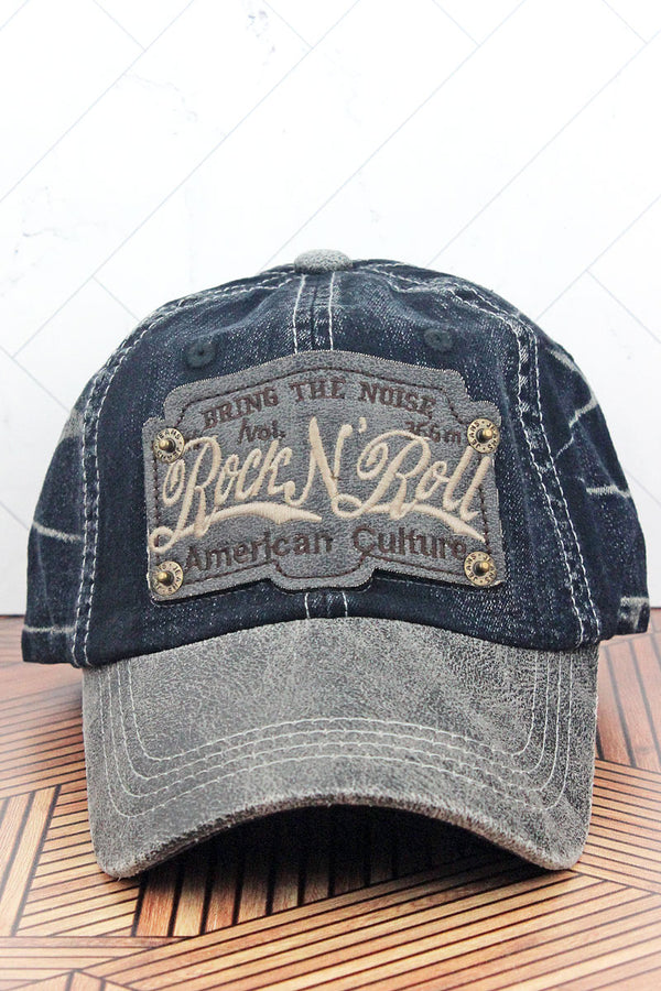 Distressed Indigo Blue Wash Denim 'Rock N' Roll' Cap