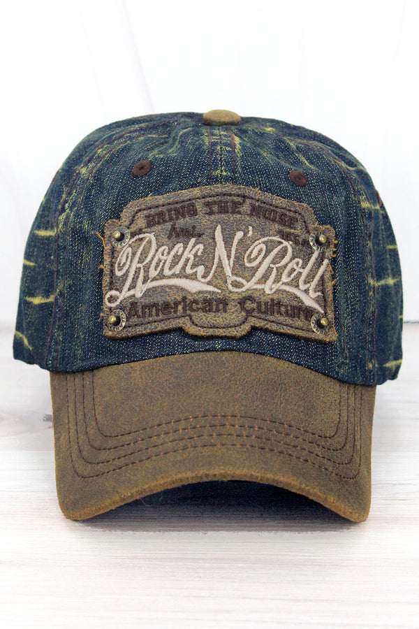Distressed Blue Wash Denim 'Rock N' Roll' Cap
