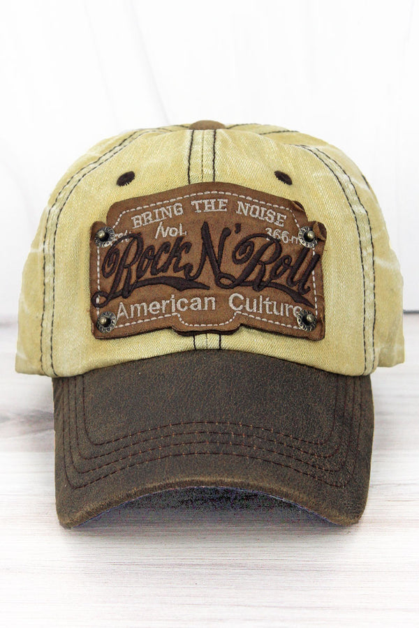 CapDistressed Khaki Wash Denim 'Rock N' Roll' Cap