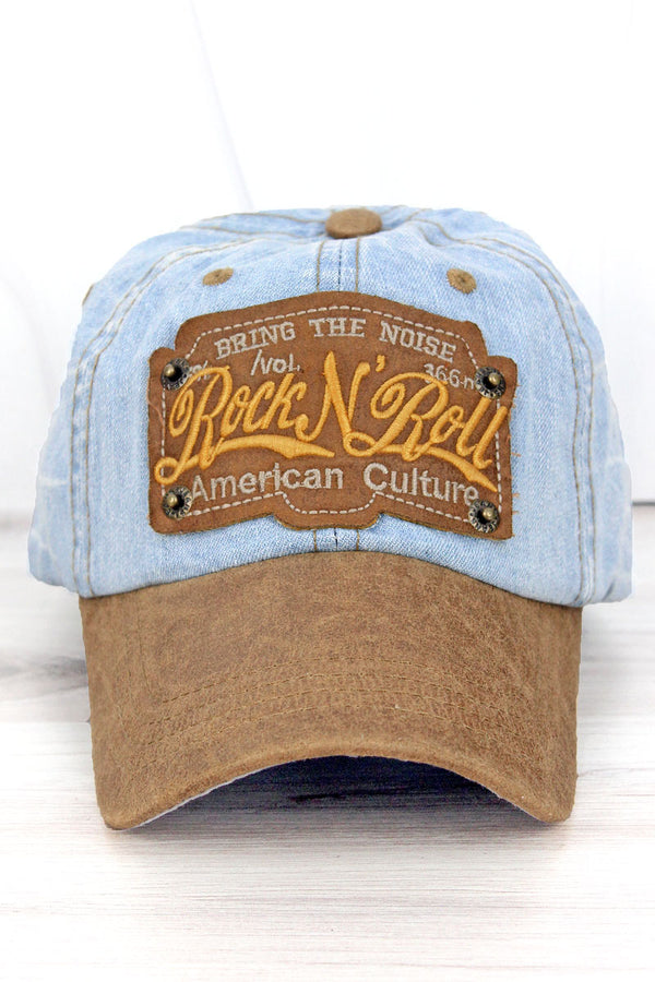 Distressed Light Blue Wash Denim 'Rock N' Roll' Cap