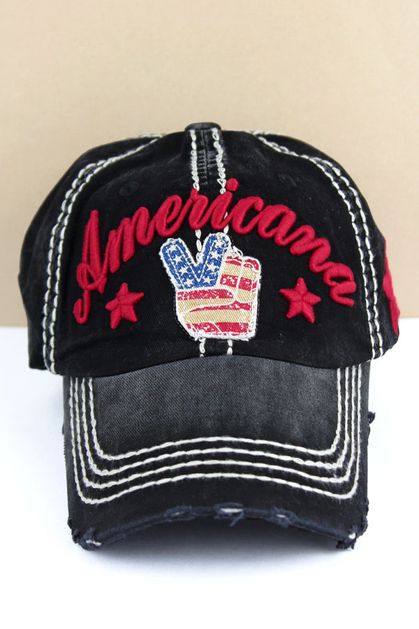 Distressed Black 'Americana' Peace Sign Cap