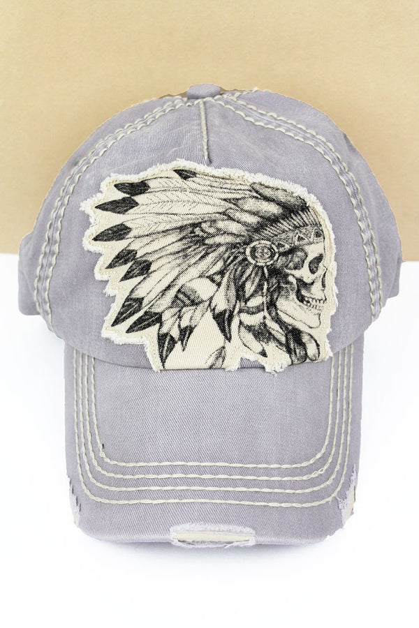 Distressed Light Gray Indian Chief Skull Cap