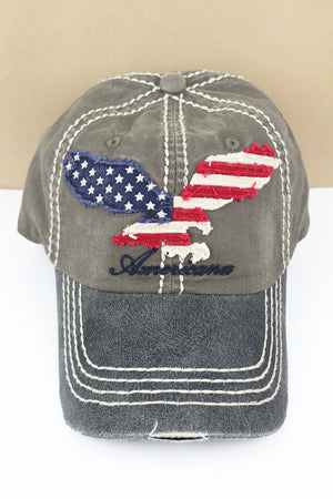 Distressed Olive 'Americana' Eagle Flag Cap