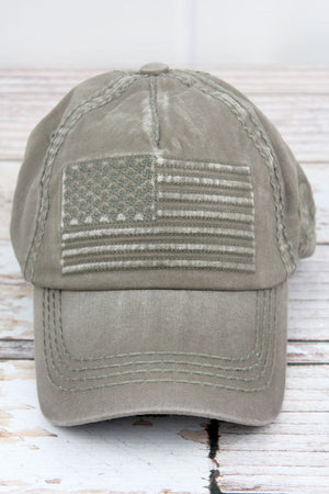 Distressed Olive Subdued Flag Cap