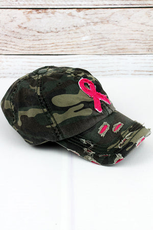 Distressed Camo with Pink Ribbon Cap