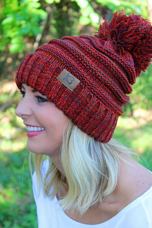 Snowball Fight Pom Pom Beanie, Orange Mix