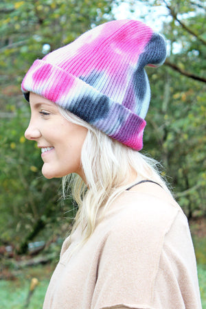 Maggie Valley Hot Pink and Black Tie-Dye Beanie