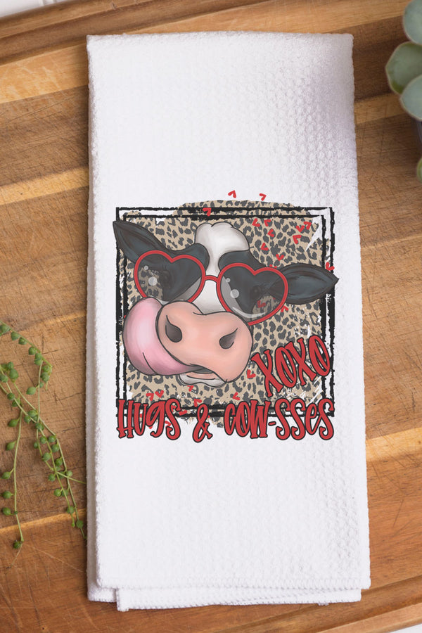 Hugs And Cowsses Waffle Kitchen Towel