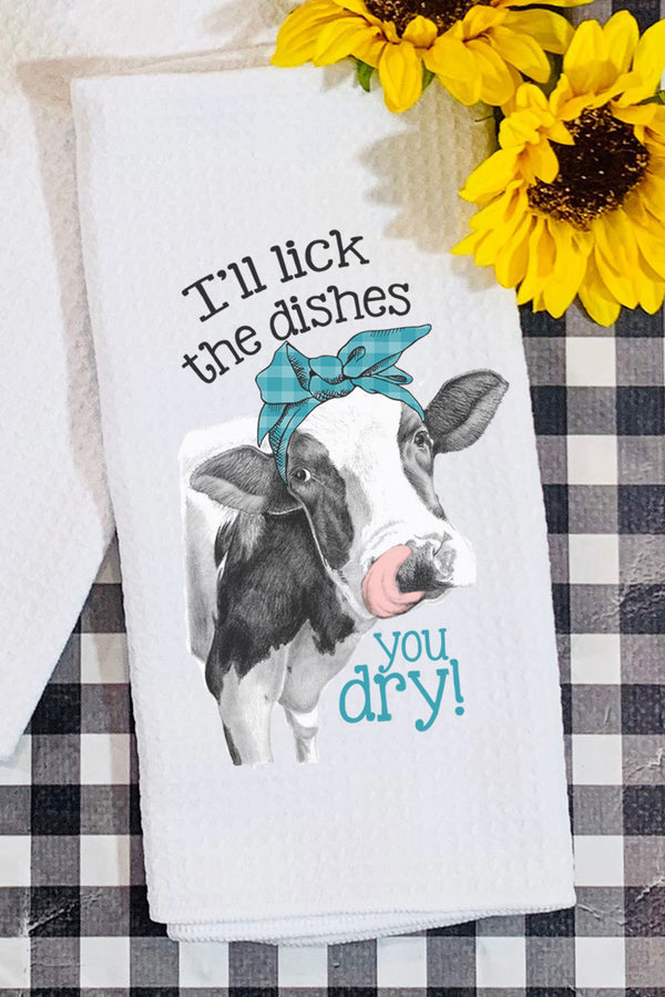 Lick The Dishes Cow Waffle Kitchen Towel