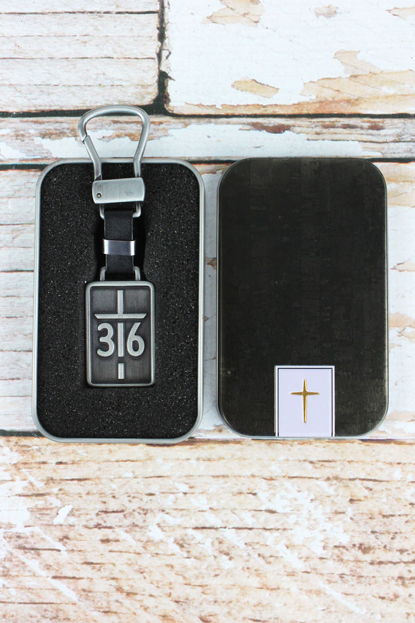 John 3:16 Cross Keyring in Gift Tin