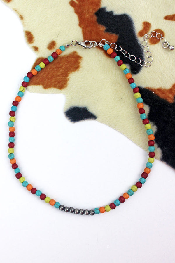 Silver Navajo Inspired Pearl and Multi-Color Stone Choker