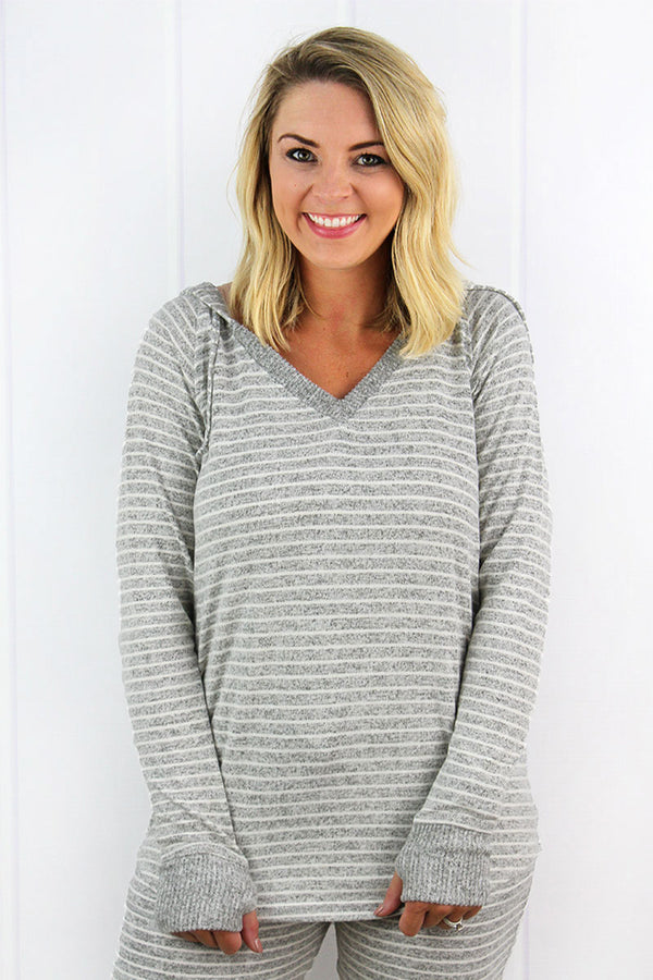 Boxercraft Ladies Oxford and Natural Striped Cuddle V-Neck Hoodie