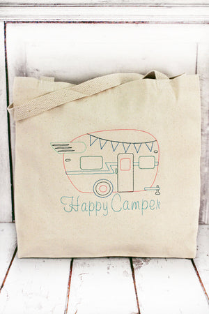 Happy Camper Canvas Tote #LB8503