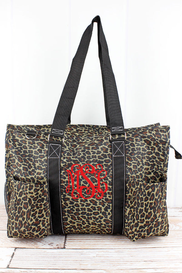 Leopard Love with Black Trim Large Organizer Tote