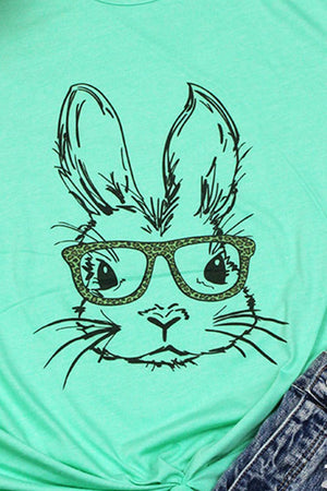 Bunny With Glasses Leopard Tri-Blend Short Sleeve Tee
