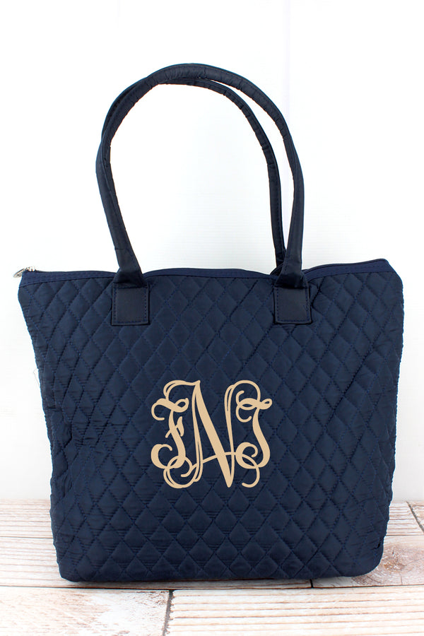 Navy Quilted Shoulder Bag