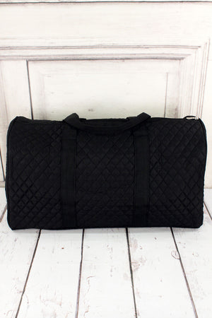 Black Quilted Duffle Bag 21""