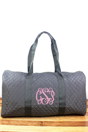 Gray Quilted Duffle Bag 21""