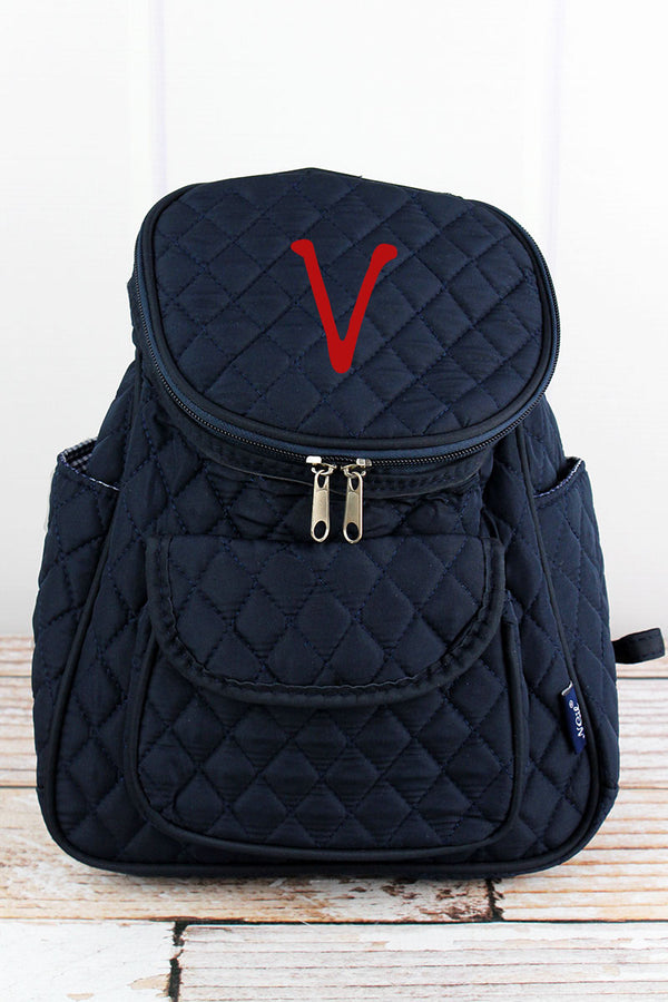 Navy Quilted Petite Backpack
