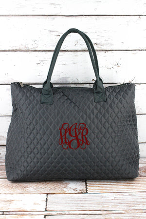 Gray Quilted Large Shoulder Tote