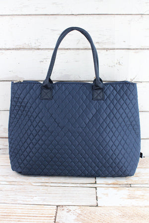 Navy Quilted Large Shoulder Tote