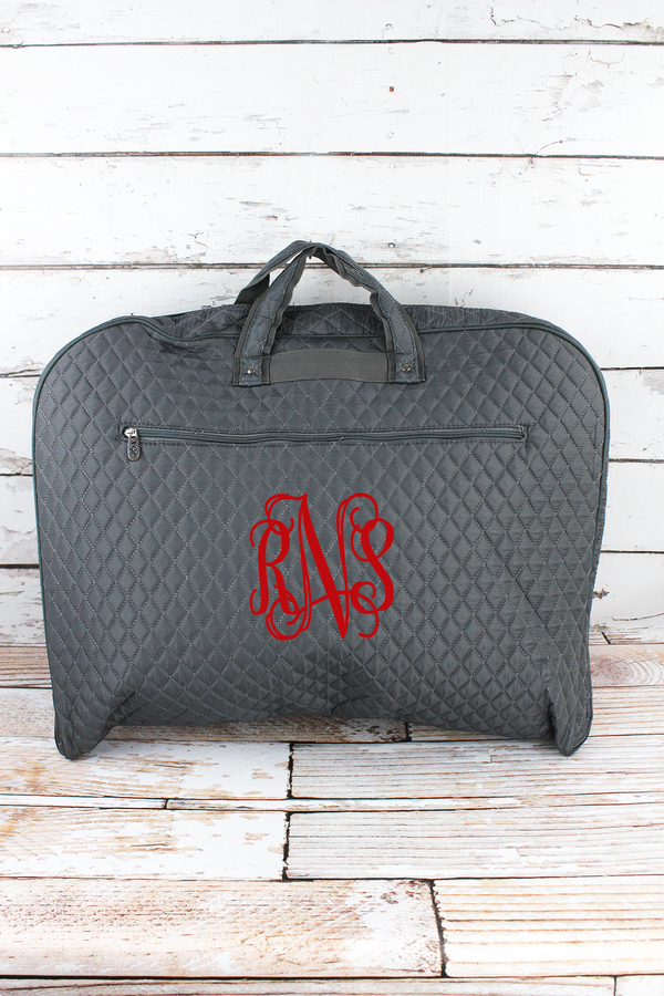 Gray Quilted Garment Bag