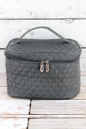Gray Quilted Train Case