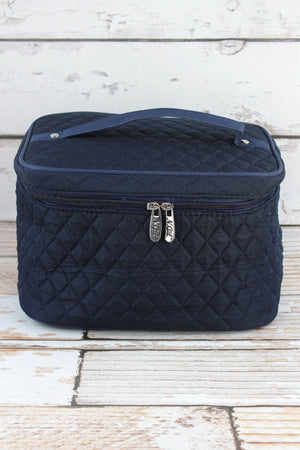 Navy Quilted Train Case