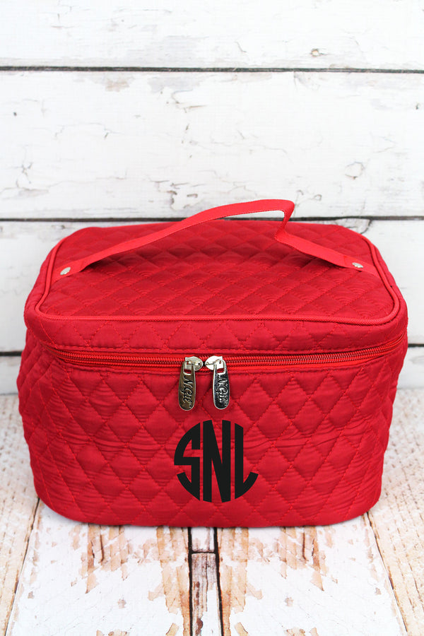 Red Quilted Train Case