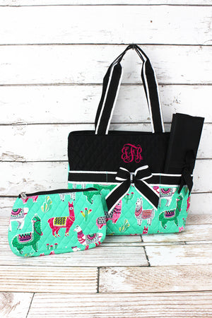 No Prob-Llama Quilted Diaper Bag with Black Trim