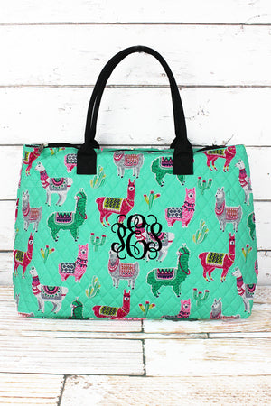 No Prob-Llama Quilted Large Shoulder Tote