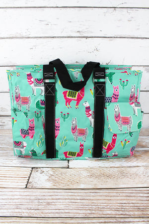 No Prob-Llama with Black Trim Large Organizer Tote