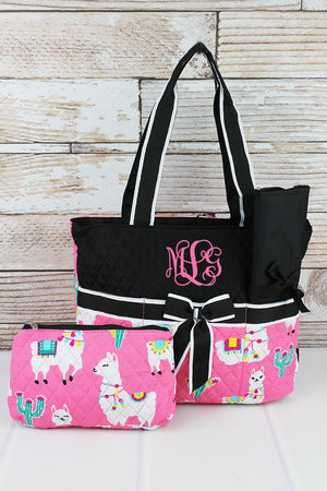 NGIL Llovely Llamas Quilted Diaper Bag with Black Trim