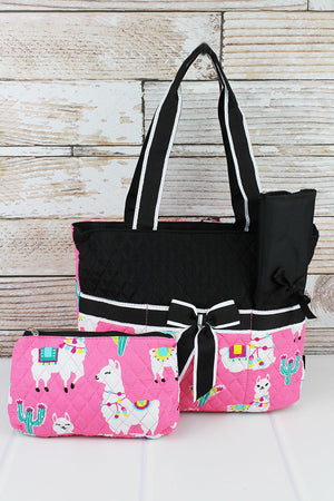 Llovely Llamas Quilted Diaper Bag with Black Trim