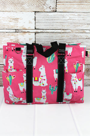 Llovely Llamas with Black Trim Large Organizer Tote