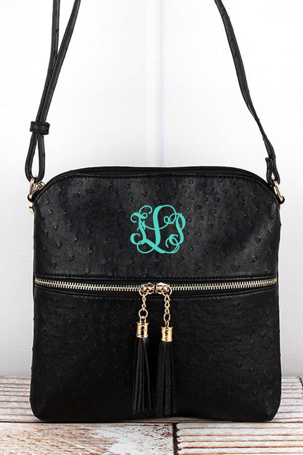 Black Faux Ostrich Leather Tassel Crossbody Bag
