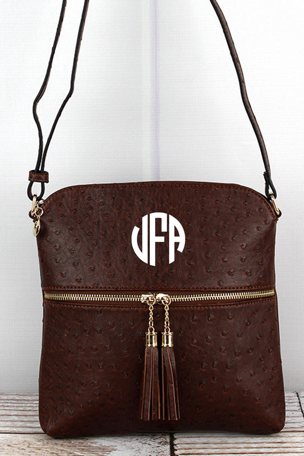 Brown Faux Ostrich Leather Tassel Crossbody Bag