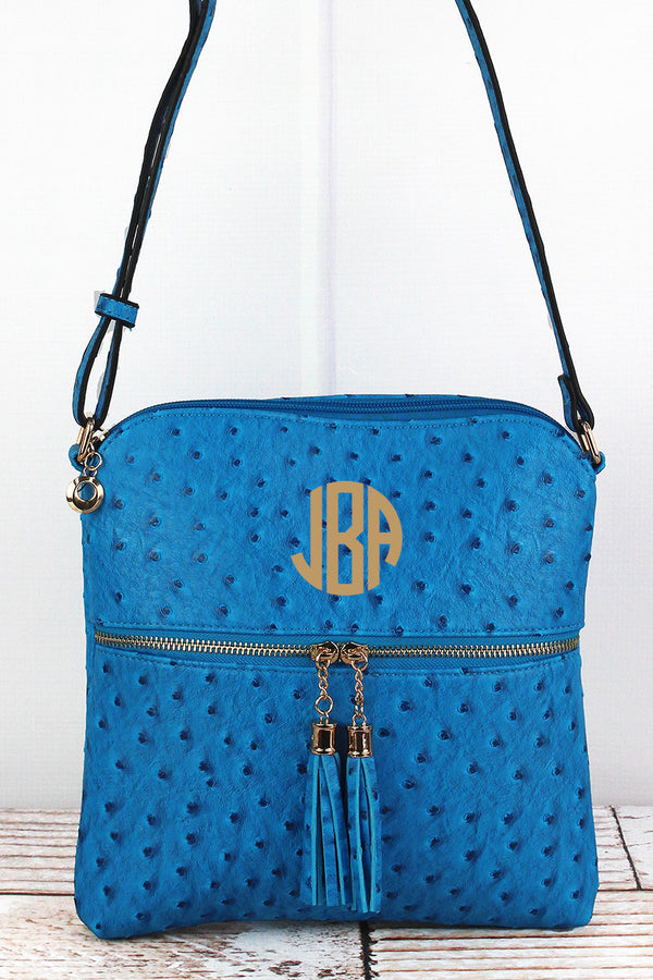 Turquoise Faux Ostrich Leather Tassel Crossbody Bag
