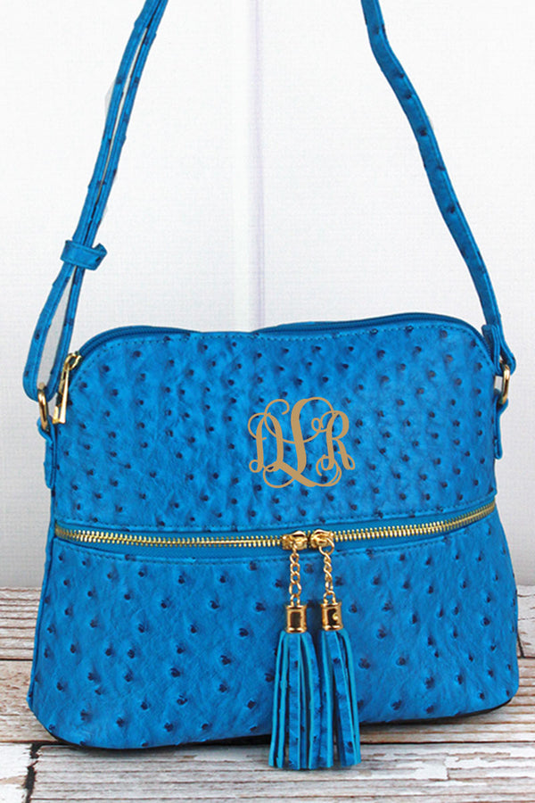 Turquoise Faux Ostrich Leather Crossbody Tassel Tote