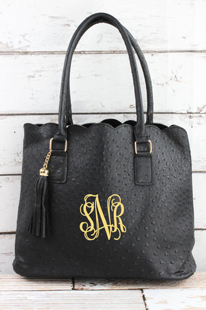 Black Faux Ostrich Leather Scalloped Tote