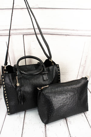 Black Faux Ostrich Leather Studded 2-in-1 Tassel Tote