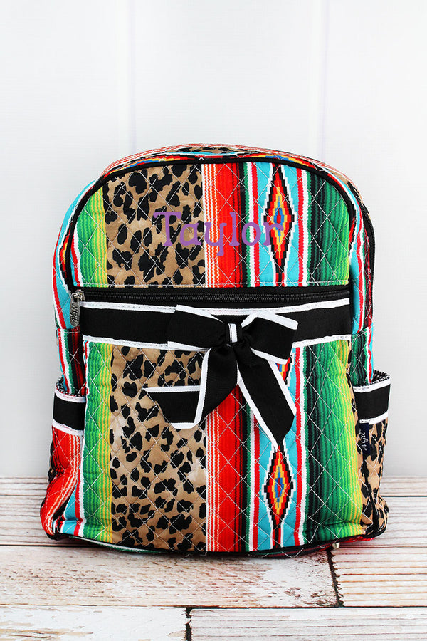 Wild Serape Quilted Backpack with Black Trim