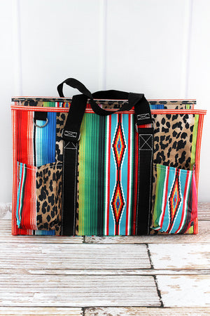 Wild Serape with Black Trim Large Organizer Tote