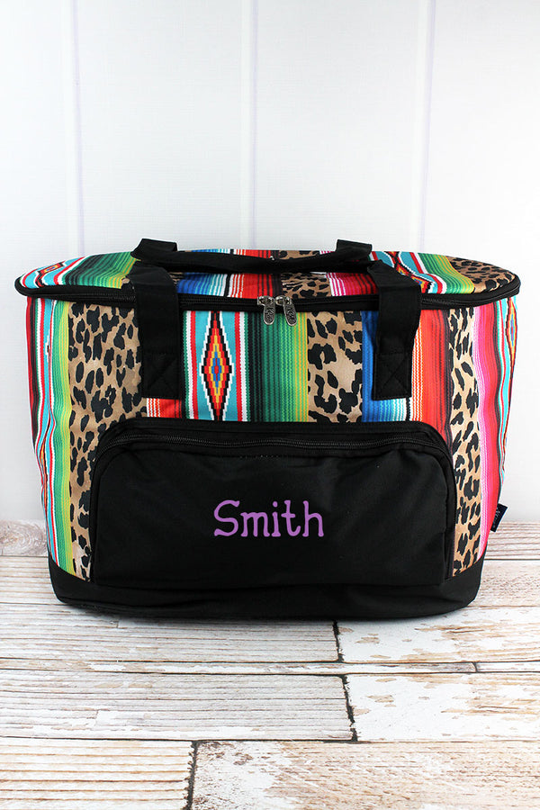 Wild Serape and Black Cooler Tote with Lid