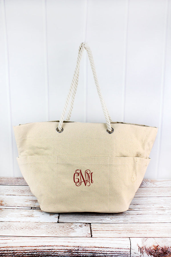 Canvas Rope Handle Beach Tote