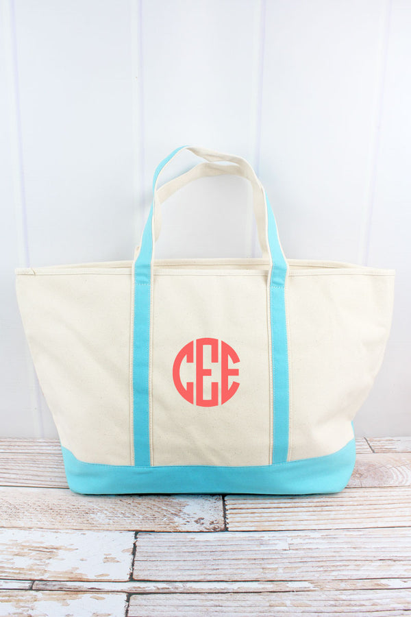 Canvas Boat Tote with Aqua Trim