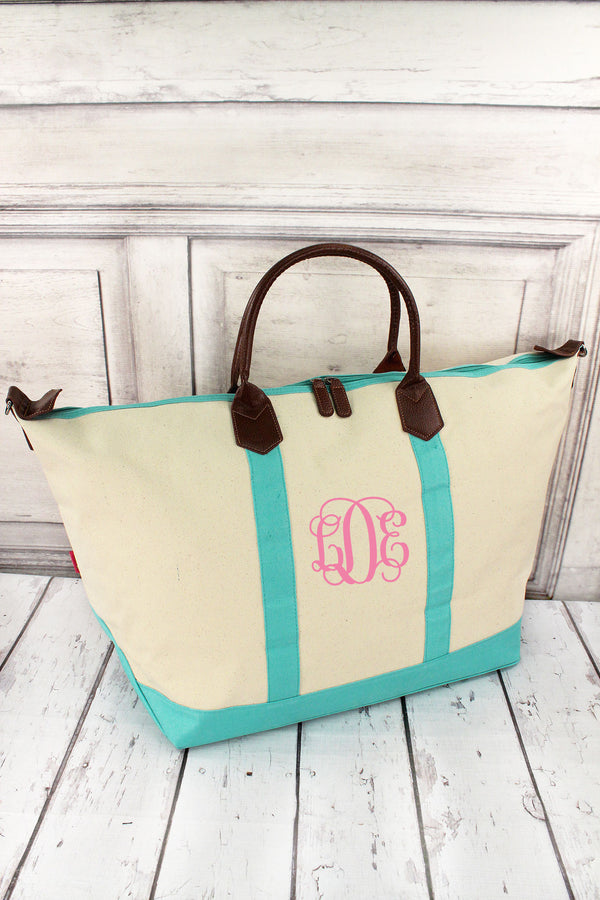 Khaki and Mint Weekender #M838-MINT