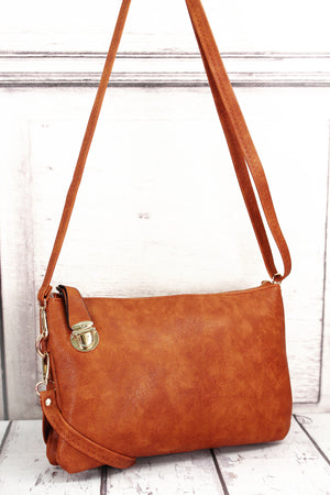 Light Brown Faux Leather Buckle Lock Crossbody Clutch